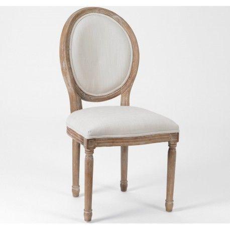 Królewskie krzesło prowansalskie o jasnym obiciu z okrągłym oparciem.  Więcej na: www.lawendowykredens.pl