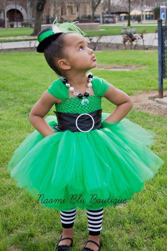St Patricks Day Tutu Dress Costume Photo Prop. St Pattys Day Dress. Leprechaun Costume  Spring Dress, mini fascinator top hat marabou belt