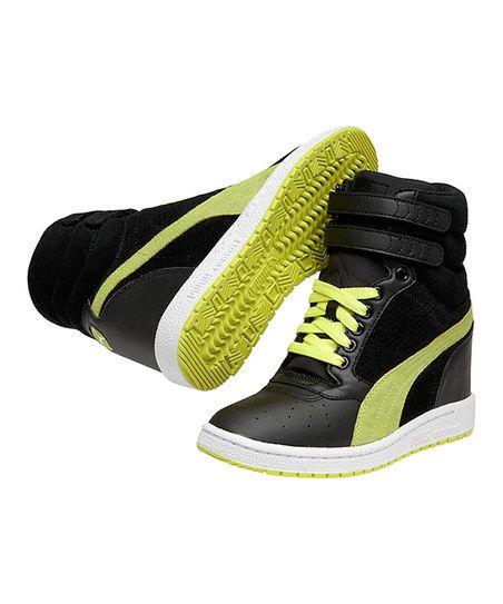 Puma Black & Fluo Yellow Sky Wedge Sneaker Hip hop dance shoes!