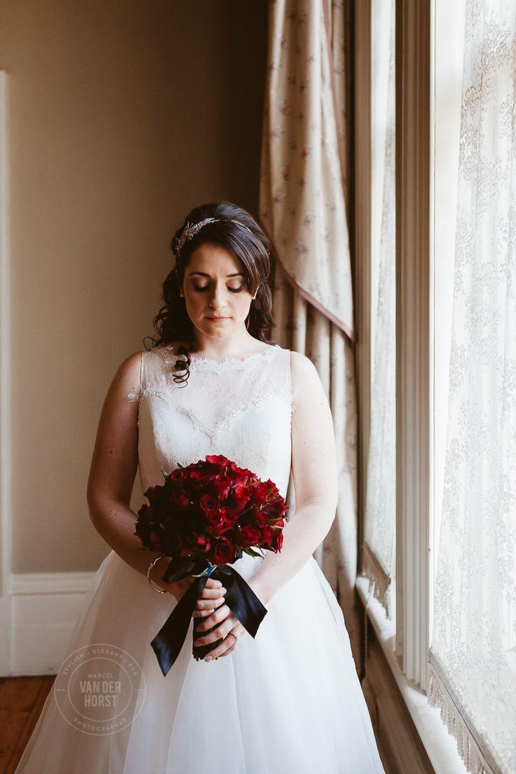 Vintage wedding dress, Red rose bouquet bride portrait Melbourne Wedding & Commerical Photographer Marcel Van der Horst