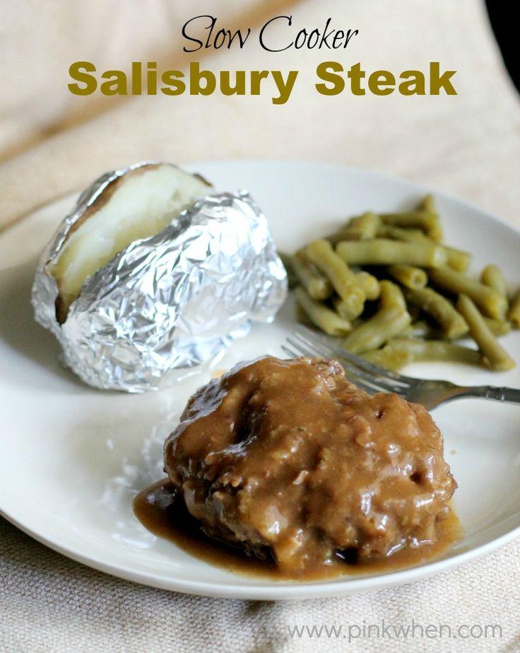 Delicious and easy Crock Pot meal! Slow Cooker Salisbury Steak recipe. www.pinkwhen.com