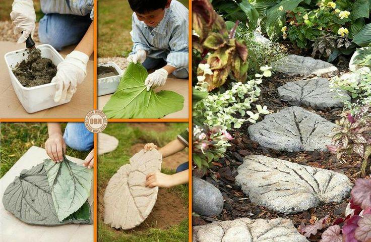 Con hojas grandes y cemento yeso y cemento pinterest for Arreglar un jardin abandonado