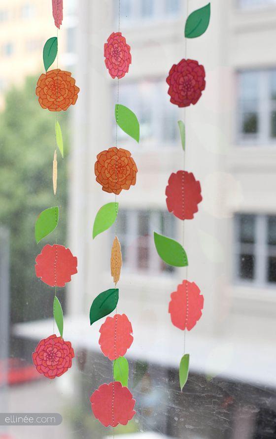 FREE Summer Flower Printable: Flower Garland Cupcake Topper Straw Decor