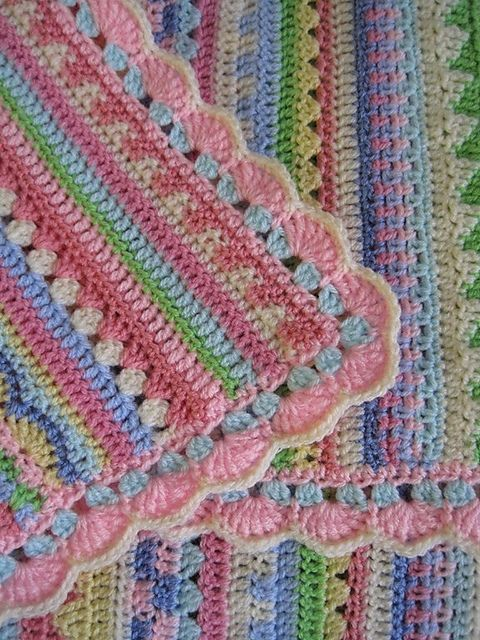 Love this take on the stripey blanket pattern. Great for a baby blanket - lots of color and different patterns mixed.