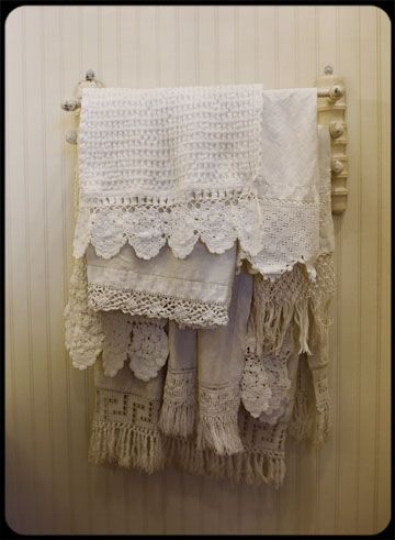 Lovely old linen towels for the bath