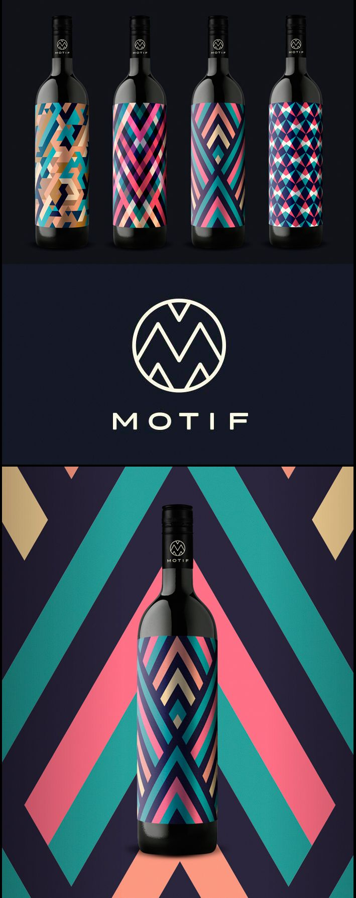 Motif Wine don't include a lot of text on the bottles. Every flavor of wine has it's own different geometric pattern and colour scheme, making this packaging very unique.