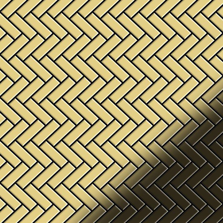 Mosaic tile massiv metal Brass mill gold 1,6mm thick ALLOY Herringbone-BM