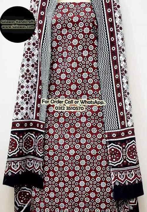 Buy Ajrak Design Shirts With Block Print Handmade Sindhi ...