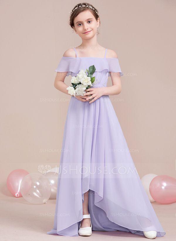 Flower Girl Chiffon Dress Kids Party Off Shoulder Princess Dress Bridesmaid Gown
