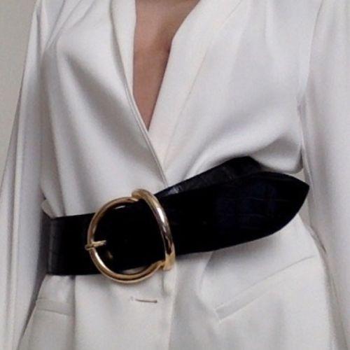 Wide black belt with circle closure