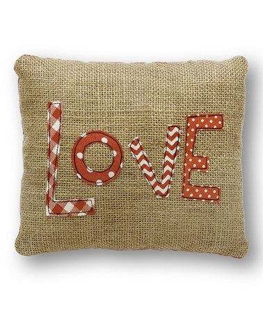 Loving this 'Love' Burlap Pillow on #zulily! #zulilyfinds