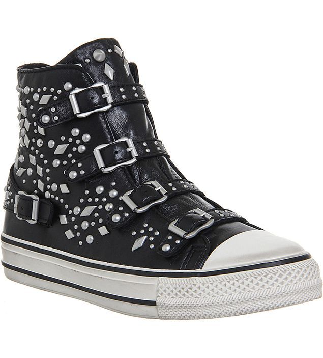 Ash Vegas Studded Leather High-Top Trainers - Black Nappa Wax Ash Trainers (Women) - Ash Online Outlet