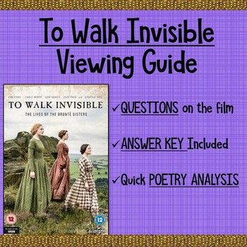 This sixteen question guide is divided into two parts: 14 rigorous questions to help students catch important details from the lives of the Bronte family, a reflection question connecting a quote from the film to literature today, and a poetry analysis task connecting one of the two poems read aloud in the film (included in the worksheet) to one of the Bronte family members.