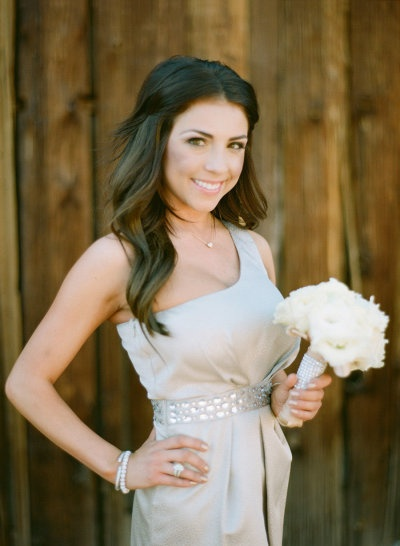 One Shoulder Bridesmaid Dress...love the hairstyle, especially the size of the curls