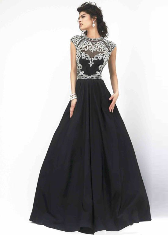 Sherri Hill 4332 Black Long Prom Dress Fabric: Taffeta. Color: Black. High neckline,cap sleeves. Rhinestone beaded top. Open back. Fitted bodice.