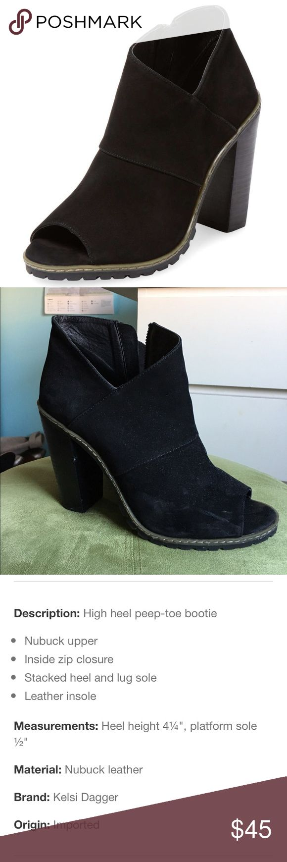 Kelsi Dagger Lorie Peep-Toe Bootie Hi! These peep toe booties are perfect for a night out. Only worn a few times. Heel is 4 1/4 inches. Kelsi Dagger Shoes Ankle Boots & Booties