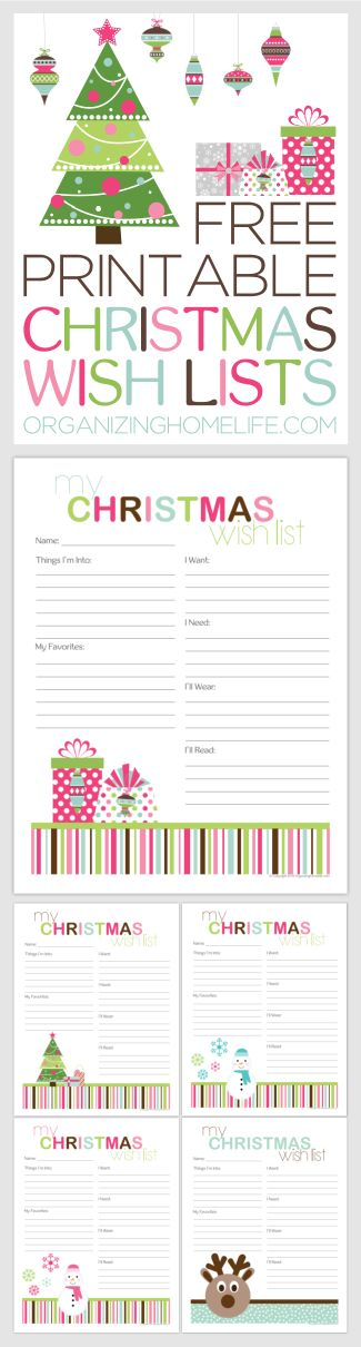Free Printable Christmas Wish Lists via Organizing Homelife