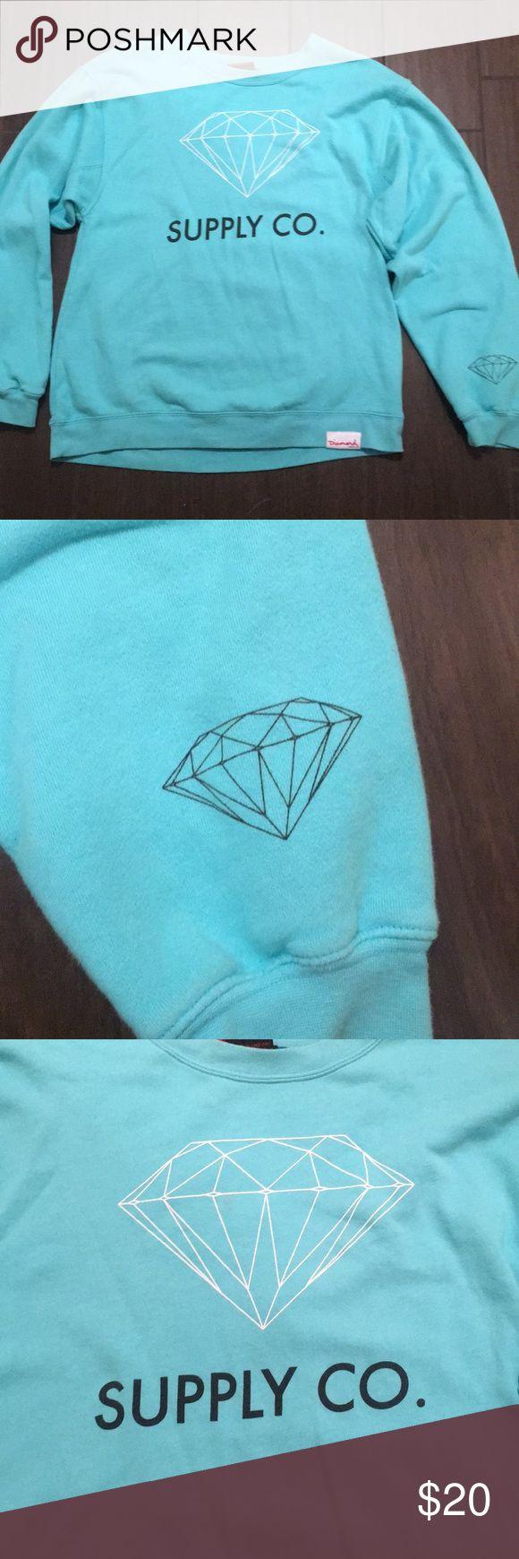 Diamond Supply Co. women's crew neck sweatshirt Diamond Supply Co. turquoise crew neck sweatshirt. Size XL. In great condition! Diamond Supply Co. Sweaters Crew & Scoop Necks