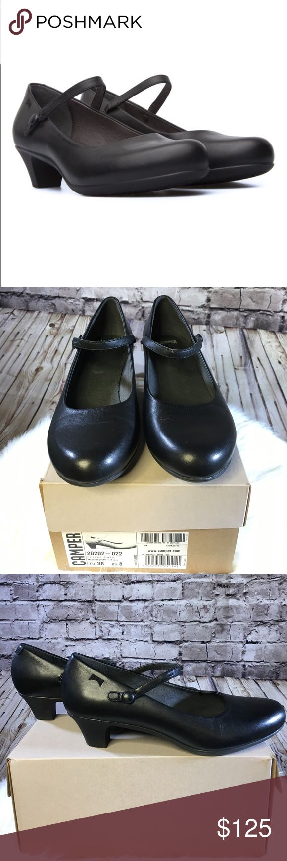 Camper Helena bajo black Mary Jane The mary jane strap, featuring a covered button closure, is elasticized for a perfect fit. The smooth leather upper and low heel will be easy to dress up or down.  *** these are pre owned and have been worn a handful of times. I am a true size 8 and found them a little too tight for my taste but I usually wear only round toe shoes  these are more of a round toe / point hybrid. Eur 38 US 8 comes with box. Camper Shoes