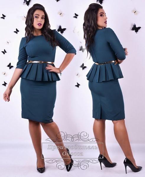 Костюм женский батал юбочный шикарный деловой стиль темная бирюза