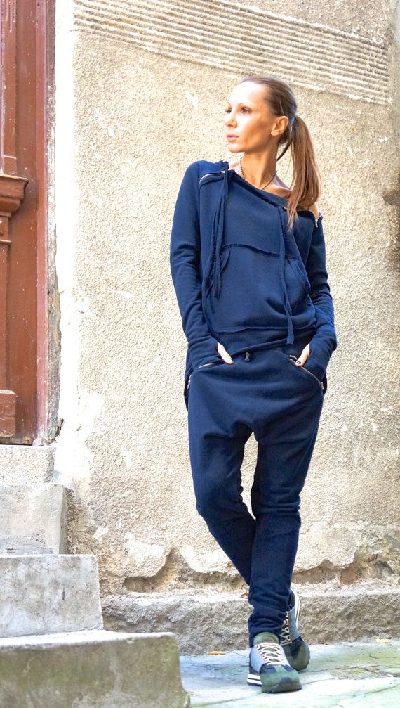NEW SS/16 Loose Casual Navy Drop Crotch Harem Pants / by Aakasha