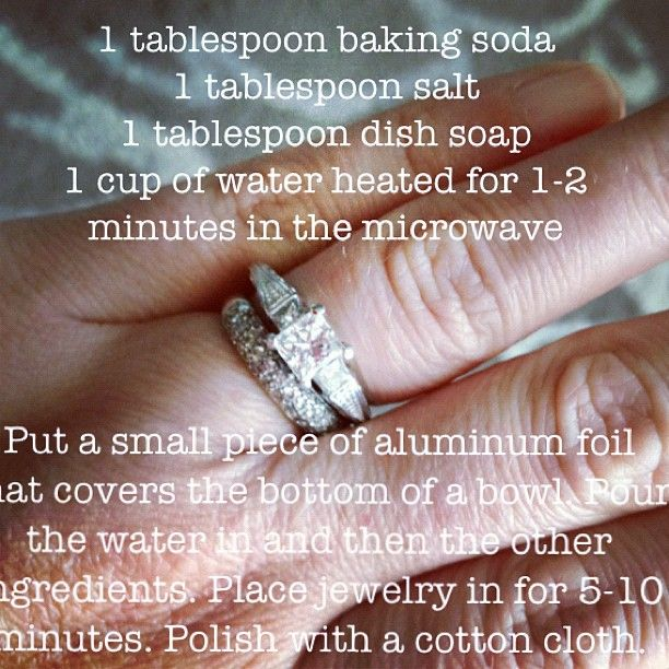 I just used this recipe today on my rings! It's amazing! My rings are sparkling! You probably can't tell in the picture though. I thought I would share. :) » @twoshadesofpink » Instagram Profile » Followgram