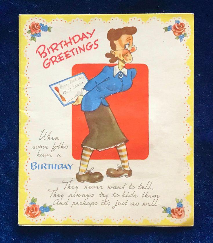 1940s birthday card humorous cartoon etsy in 2021