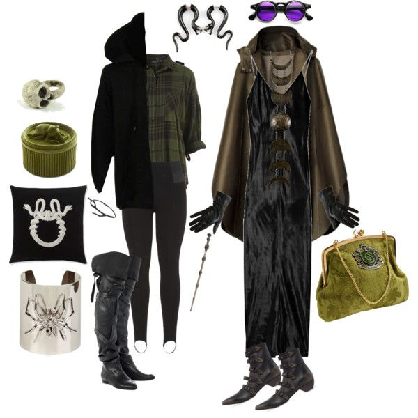 Slytherin by lemon-pirating-sea-raptor on Polyvore featuring T By Alexander Wang, maurices, Chloé, John Fluevog, Emili, Marmèn, Natalia Brilli, Macha, Moleskine and Williams-Sonoma