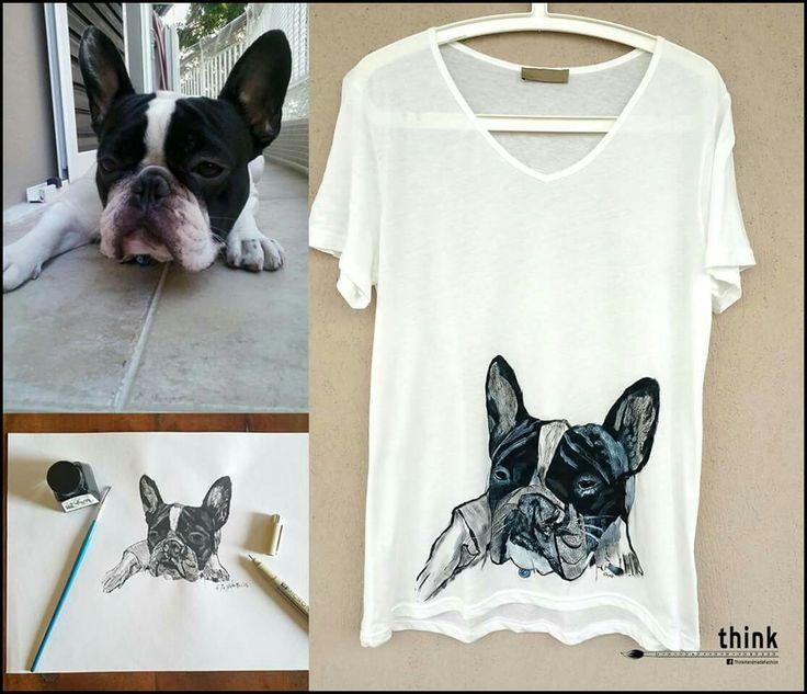 Handpainted French bulldog illustration on white t-shirt.