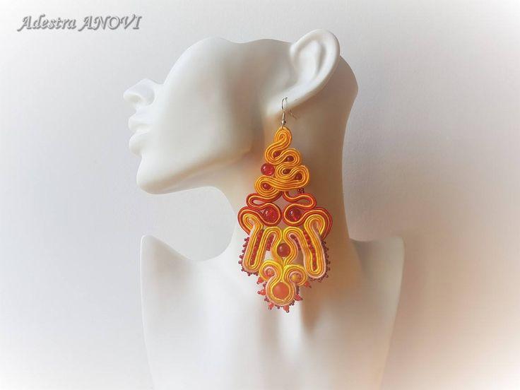 Long soutache earrings by AdestraANOVIDesign on Etsy