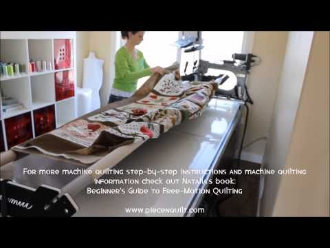 How To: Load a Quilt on a Long-Arm Quilting Machine.  I float all my quilts so I skip the part where the bottom of the quilt top gets pinned onto a leader. The whole process is time consuming but a bad load can be a nightmare so take your time.