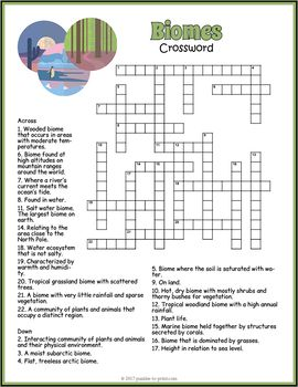 What are the biome challenge word search answers?