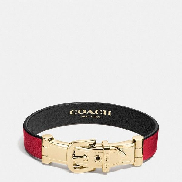Coach Wide Two Tone Glovetanned Leather Buckle Bracelet ($85) ❤ liked on Polyvore featuring jewelry, bracelets, chunky jewellery, chunk jewelry, coach jewelry, chunky jewelry and leather jewelry