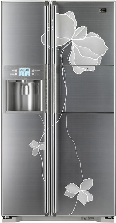 Beautiful LG side by side refrigerator with photo etched