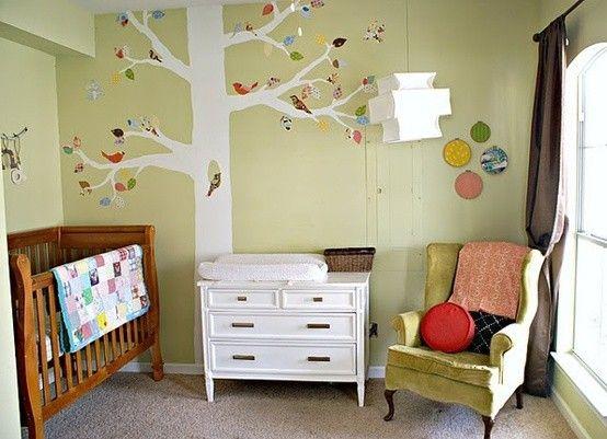 cameretta parete salvia sticker albero bianco