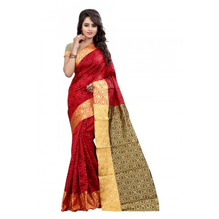 Fantastic Red Color Cotton Slik Sareeat just Rs.925/- on www.vendorvilla.com. Cash on Delivery, Easy Returns, Lowest Price.