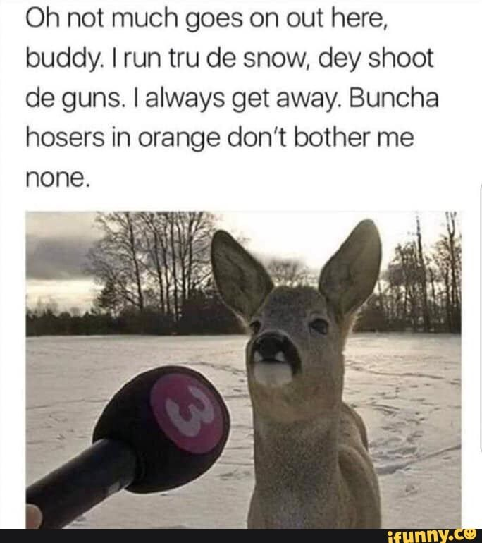 Oh Not Much Goes On Out Here Buddy I Run Tru De Snow Dey Shoot De Guns Ialways Get Away Buncha Hosers In Orange Don T Bother Me None Funny