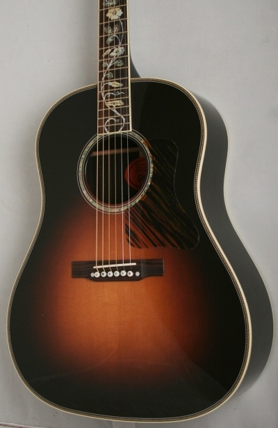 Gibson J-45 Custom Vine Rosewood (Vintage Sunburst) - The pinnacle of hand-craftsmanship from Gibson's Acoustic Division in Bozeman, Montana. The top of the J-45 Custom Vine Rosewood is made from AA-grade Sitka spruce, while the back and sides are constructed from AAA-grade Indian Rosewood, giving the J-45 Vine Rosewood its world renowned full, balanced expression, warm bass, and excellent projection. £3799 #gibson #acoustic #guitar #vintage #flower #vine