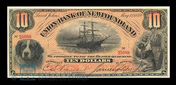 Union Bank of Newfoundland $10 Note, 1 May 1889