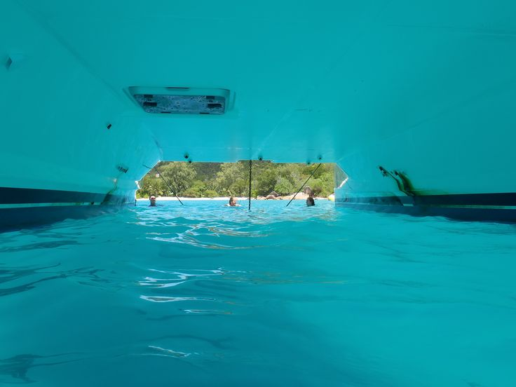 Under a yacht in the Seychelles.. Pure joy.