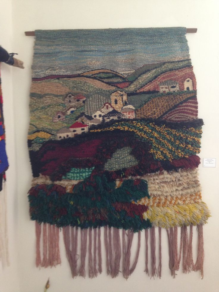 Countryside scene woven wall hanging by Jackie Maddocks at Melin Trefin, Trefin, Pembrokeshire. www.melintrefin.co.uk