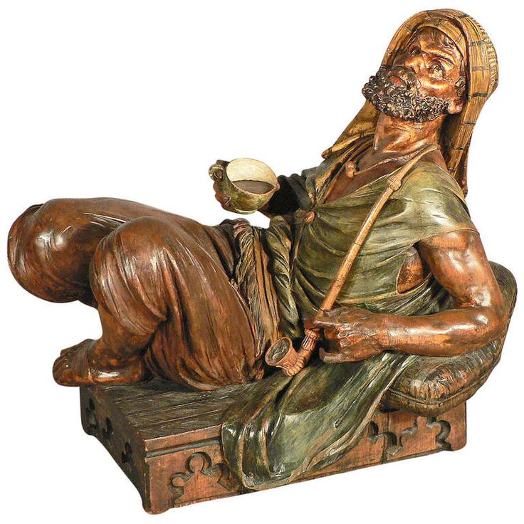 Carved wood coffee drinking arab statue austria circa