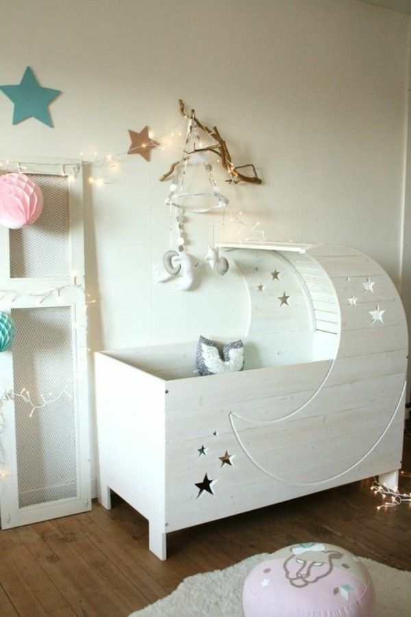 baby room design fancy cot crescent star