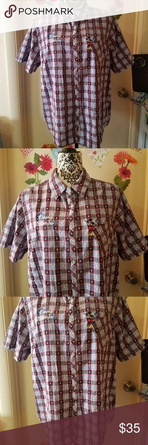 "RARE JERRY LEIGH Disney Mickey Mouse Plus 18W/20W RARE JERRY LEIGH Disney Original Superstar Mickey Mouse Button Down Women Plus 18W/20W Excellent Used Condition   Beautiful checkered/plaid star button down   100% Cotton  Measurements:  Length: 26"" in Bust: 25"" in  Thank you for looking!  DI-T02 Jerry Leigh Disney Original Tops Button Down Shirts"
