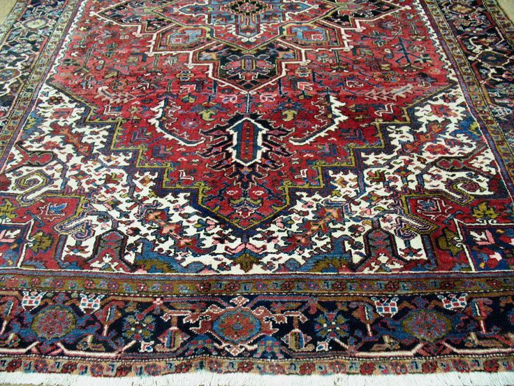 8x12 PERSIAN HERIZ Tribal Hand Knotted Wool TRADITIONAL REDS BLUES Oriental  Rug | Area Rugs | Pinterest | Oriental Rug, Persian And Oriental