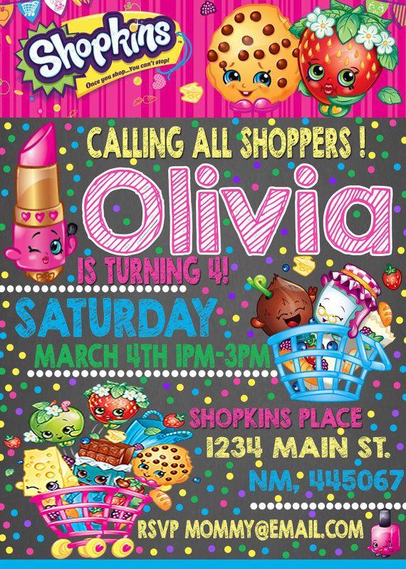 SHOPKINS BIRTHDAY INVITATION! calling all shoppers