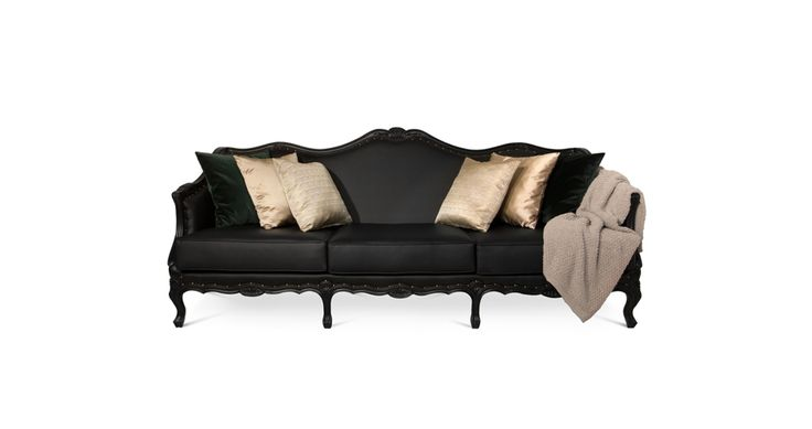 Ottawa sofa depicts a sense of contrast by combining curves, elegant shapes and carved wood details with a dark colour | Discover more  bedroom sofa ideas: http://masterbedroomideas.eu/