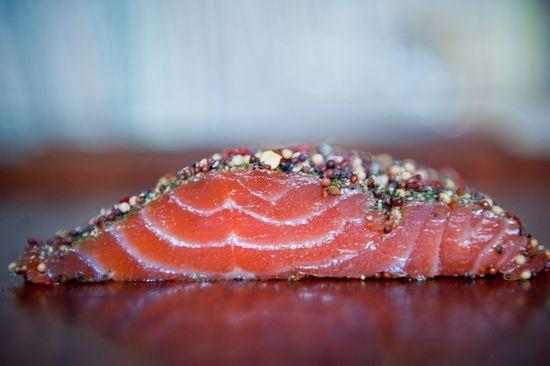 Salmón marinado con mostaza y coñac. #receta #pescado