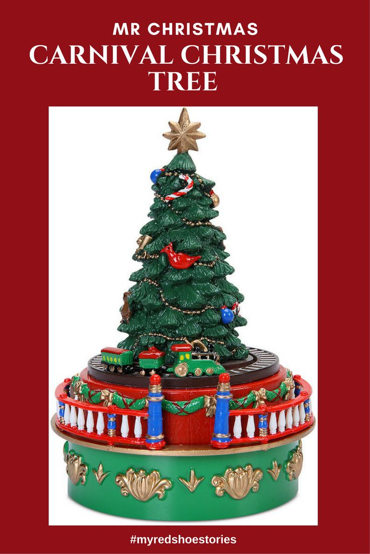 Mr. Christmas Mini Carnival Christmas Tree with Train Music Box #affiliate Bring the joy of your favorite ride into your home or office without taking loads of space. This wind-up music box features rich, hand-painted detail and plays one traditional Christmas carol. #collectors #holiday #decor #myredshoestories