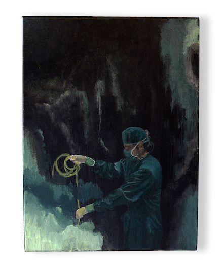"""THE OVERTAKE GIONA FRANCIS 30x40x1,5cm – Acrylic on canvas  Questo lavoro è un pellegrinaggio più semantico che gestuale, sicuramente un interrogativo. Il chirurgo dal fare sciamanico, nel contesto """"accidentalmente"""" indistinto, tira, agita, scorpora ma il mistero lo avvolge e il senso d'incompiuto ventoso burrascoso ci avvolge."""